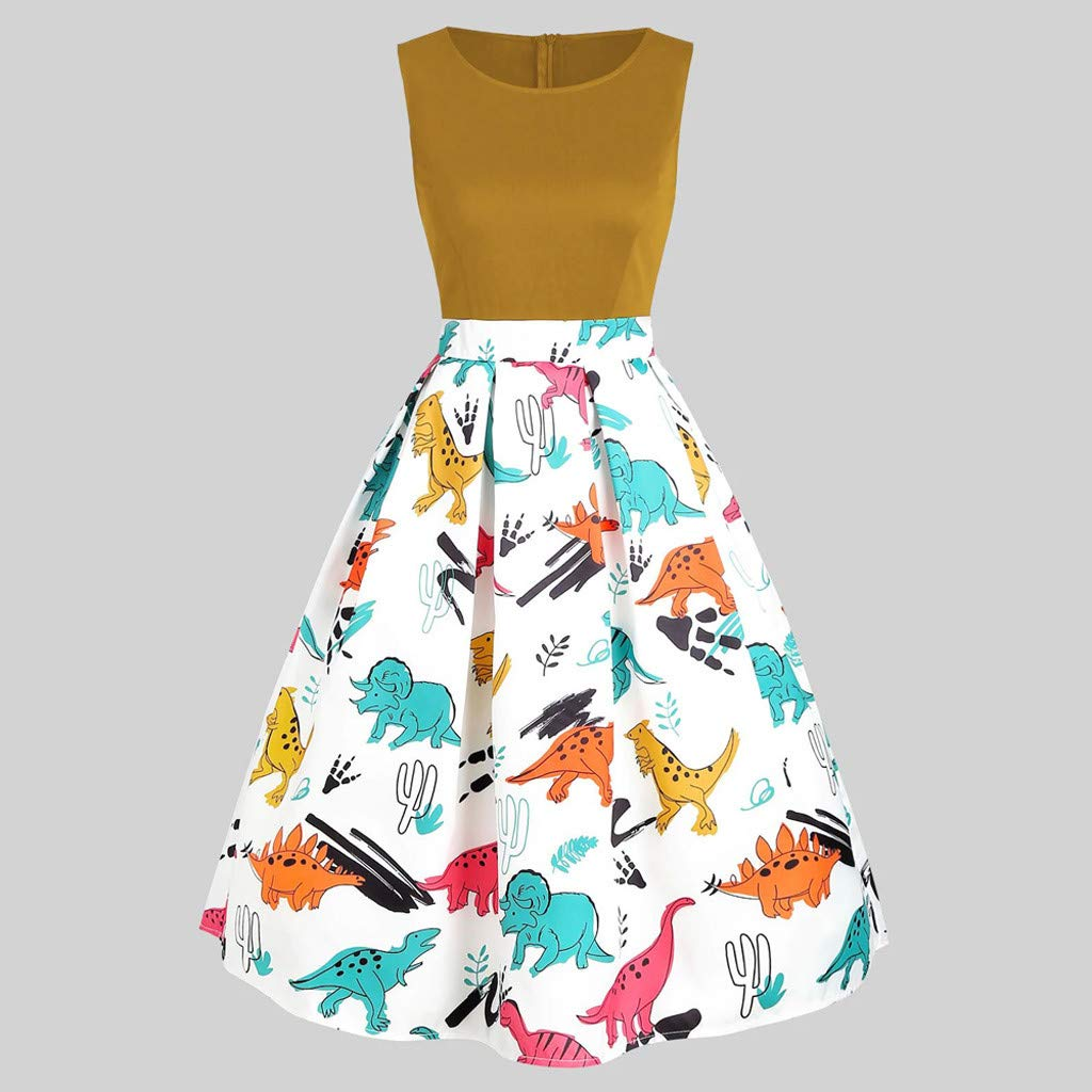 Hucode Dresses Women Vintage Sleeveless Ladies Dress Printed Dinosaur GraphicTunic Tank Dress Loose Sleevelese O-Neck Tank Dress