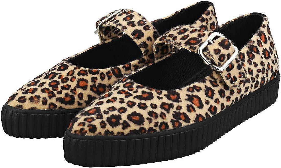 Shoes Femme L/éopard Imprim/é Fourrure V/ég/étalienne Point/ée Mary Jane Sneaker T.U.K