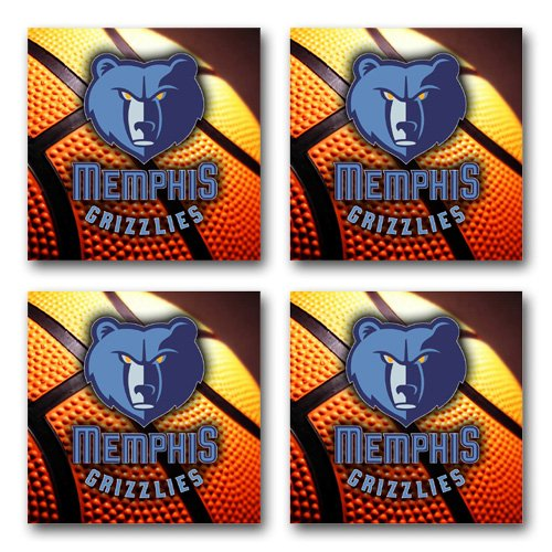 Grizzlies Basketball Rubber Square Coaster set (4 pack) Great Gift Idea ()