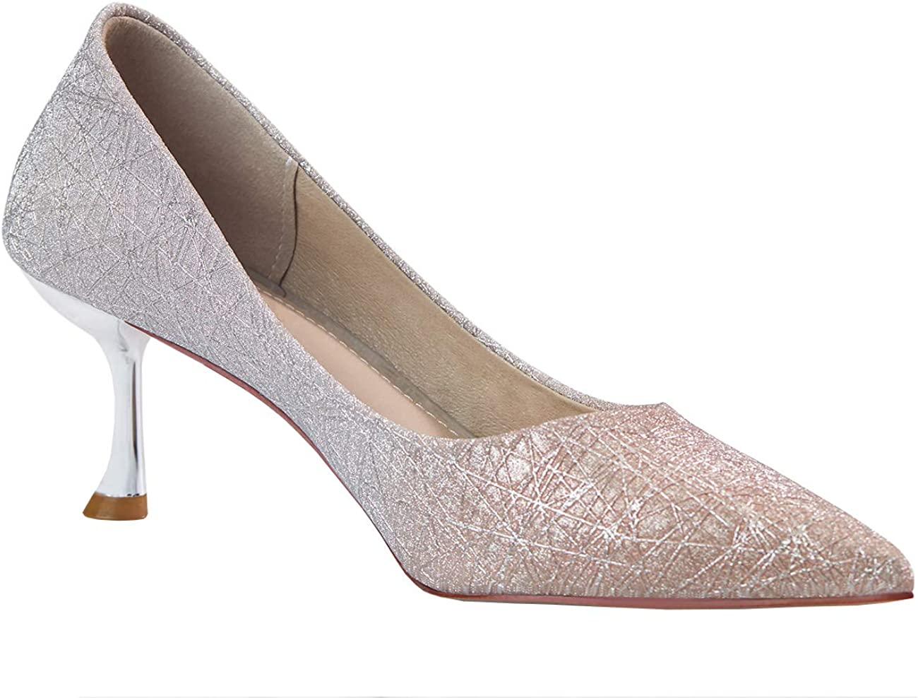 C.PARAVANO Womens High Heel Shoes Glitter Pumps Stiletto Heels 6CM Pointed Toe Court Shoes