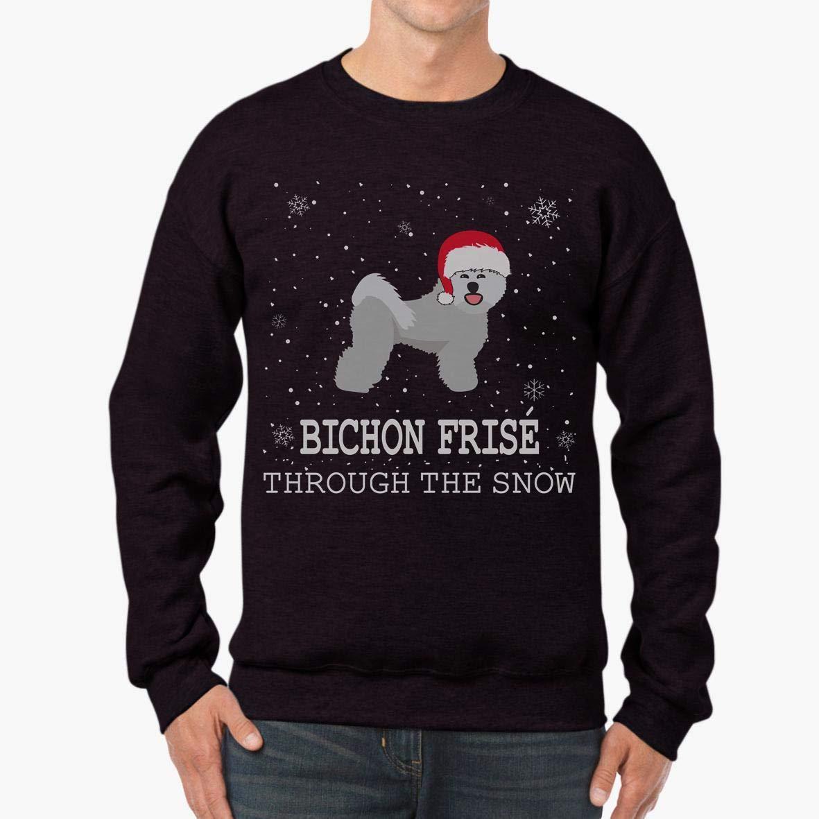 Doryti Bichon Fris/é Through The Snow Happy Holiday Unisex Sweatshirt tee