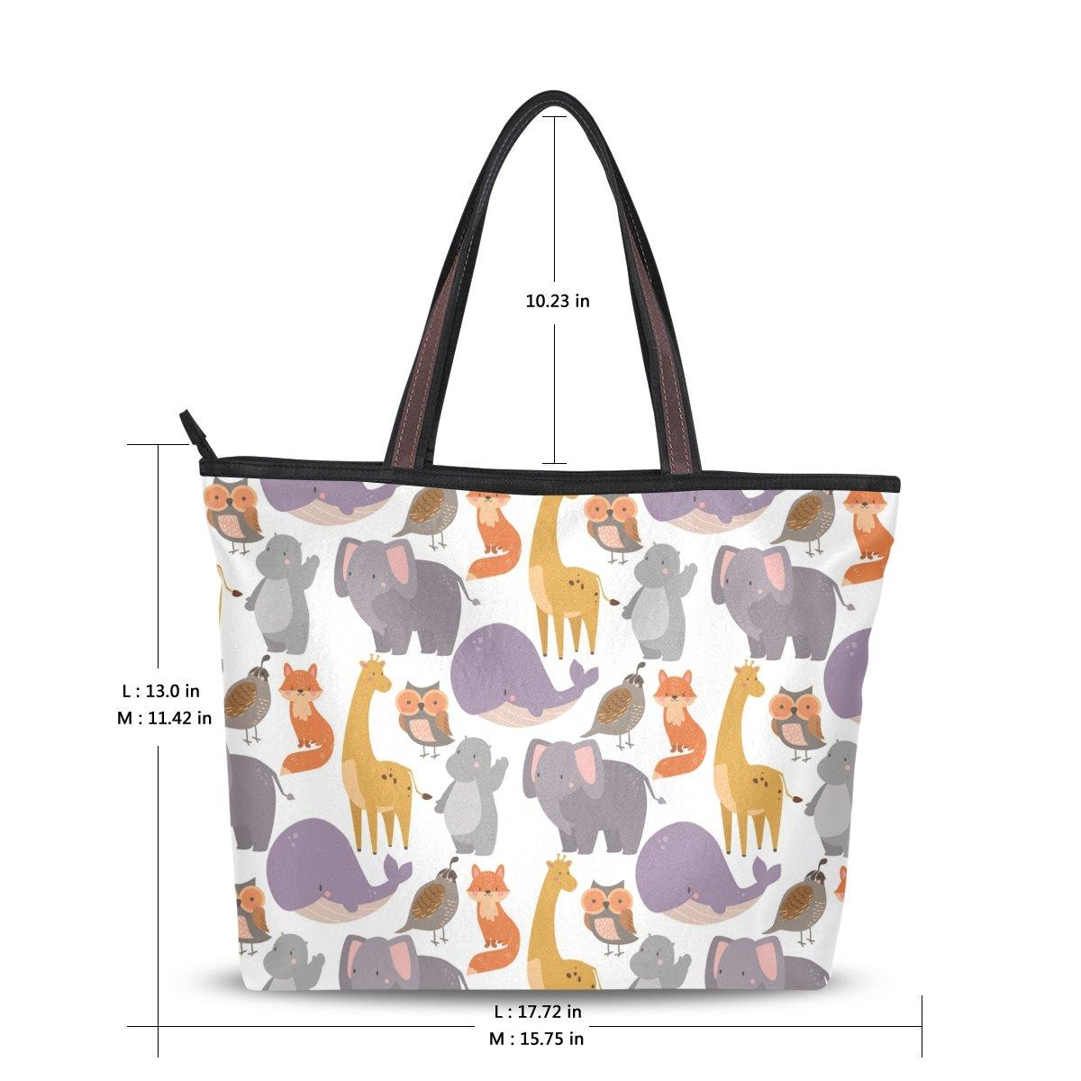 WIHVE Elephant Fox Whale Womens Tote Bag Top Handle Satchel Handbags Shoulder Bags