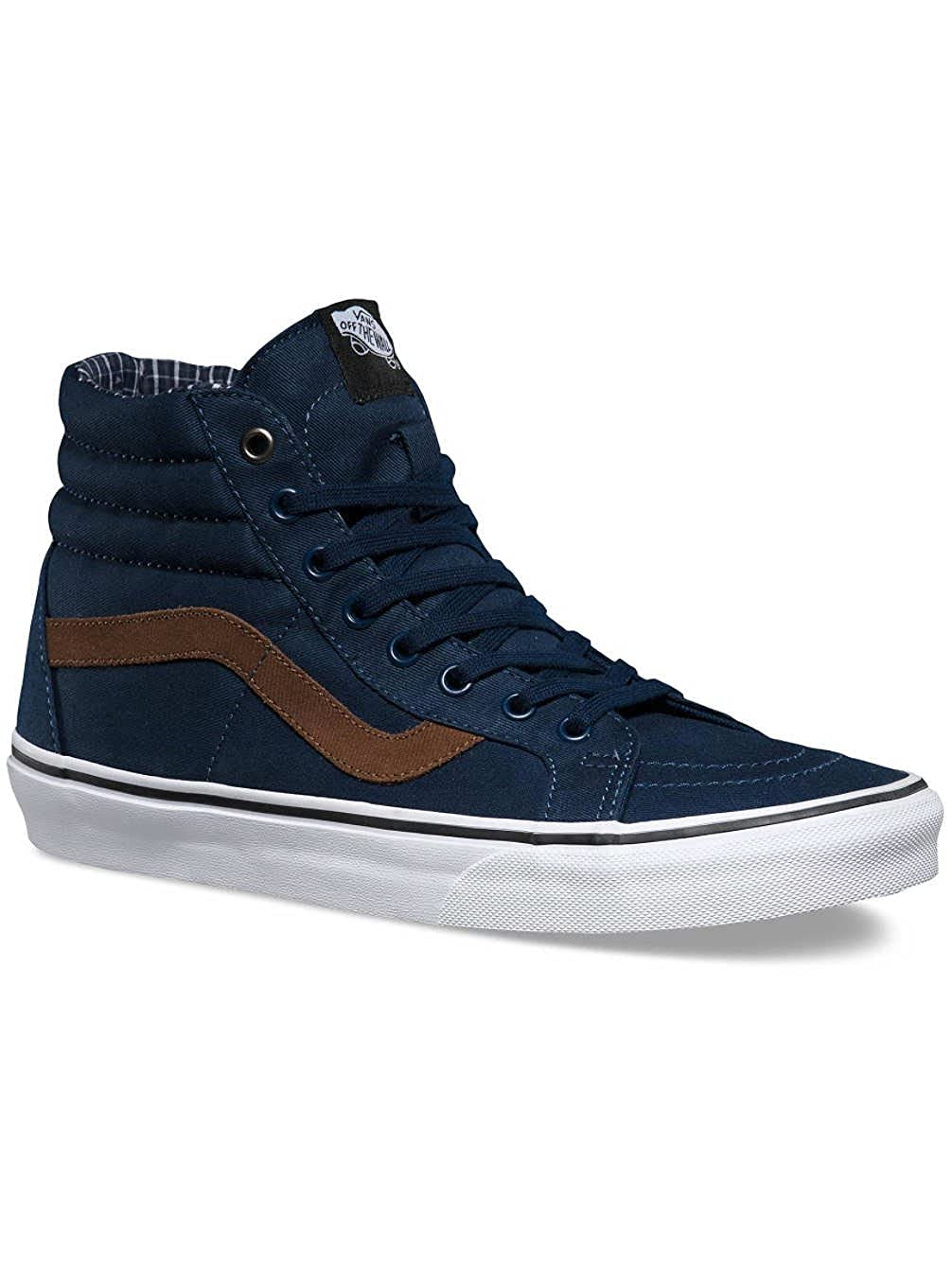 blue and brown high top vans