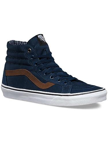 32ab0bbc63 Image Unavailable. Image not available for. Color  Vans (Cord   Plaid)  Blue Brown Shoes - SK8-Hi Reissue US