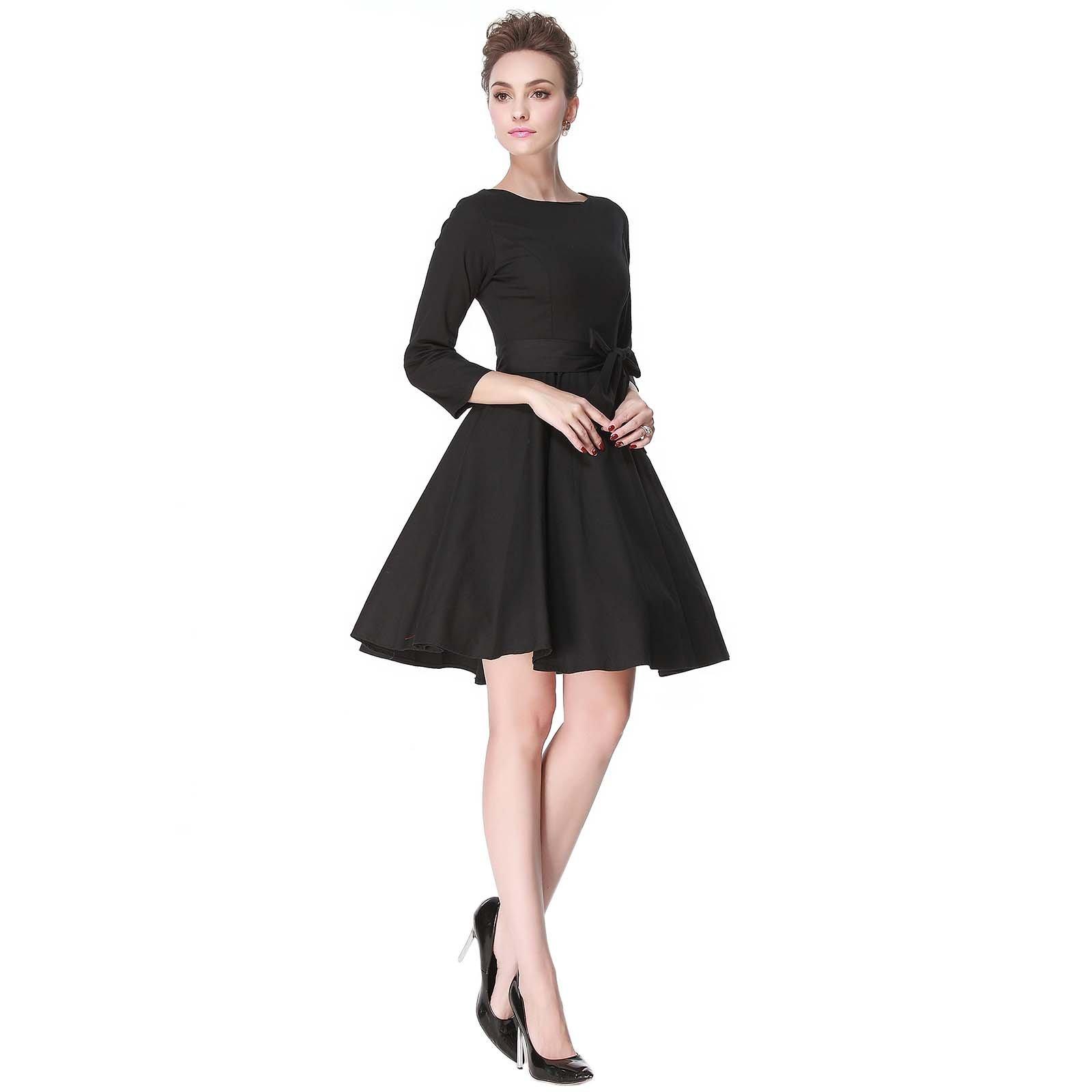 Heroecol 50s 60s Hepburn 3/4 Sleeve Style Vintage Retro Swing Rockailly Dresses Size XL Color Black by Heroecol (Image #5)