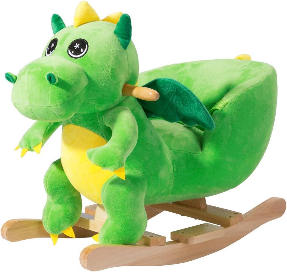 Deuba Balancín Mecedora Dinosaurio a báscula con Sonido Estructura de Madera Juguete cinturón de Seguridad Peluche niños