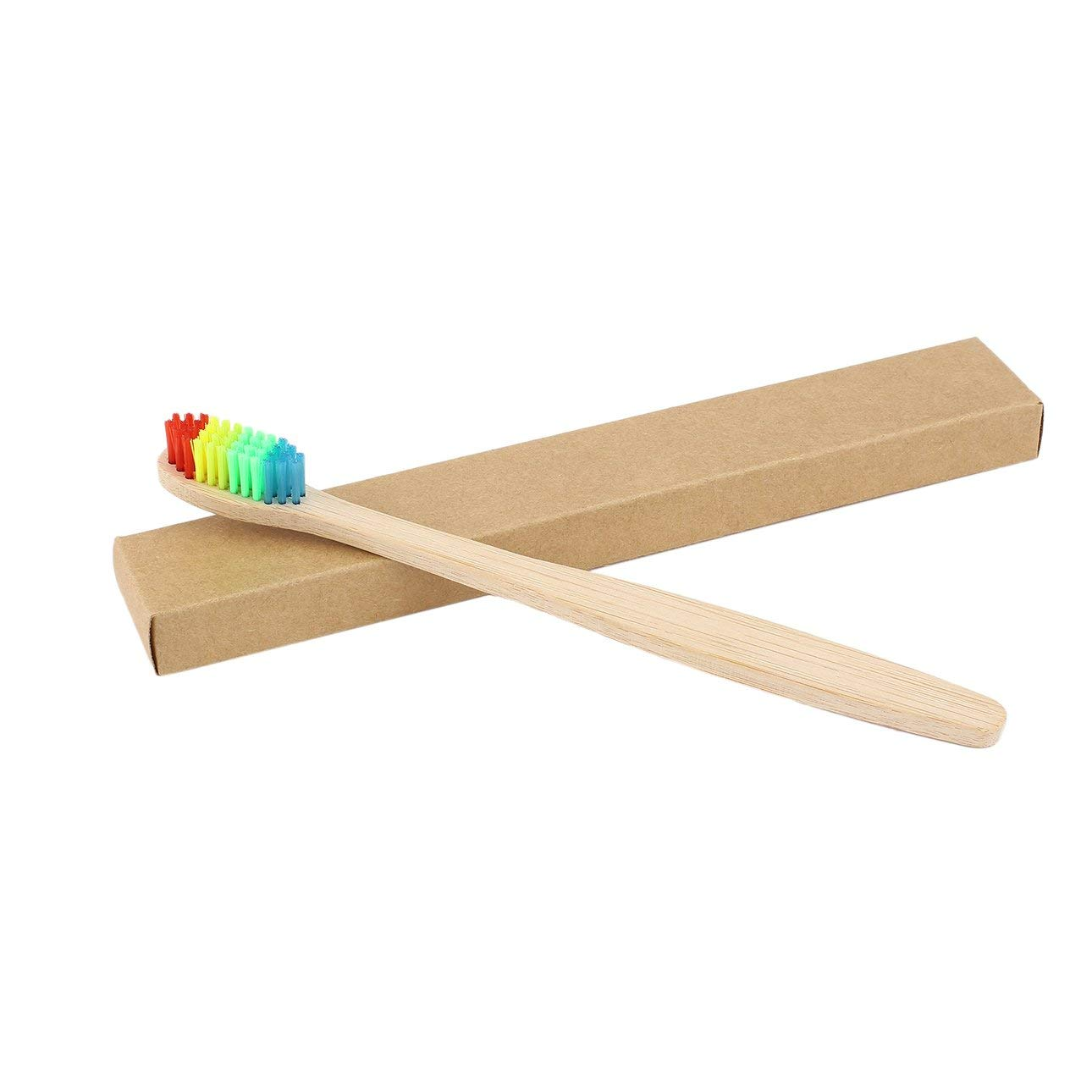 Liobaba Colorful Hair + Bamboo Handle Toothbrush Environment Wooden Rainbow Bamboo Toothbrush Oral Care Soft Bristle Unisex