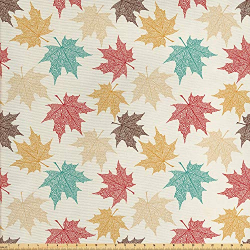 Lunarable Leaf Fabric by The Yard, Pattern Colored Maple Leaves Seasonal Nature Inspired Ecology Artwork Print, Decorative Fabric for Upholstery and Home Accents, 2 Yards, Burgundy Teal ()