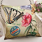 ZZYHOME-American Creative Sofa Cushion Throw Pillow Home Decor office and car Decorative Cushion ,5555cm( Hood + pillow),Z Butterfly Dance Style