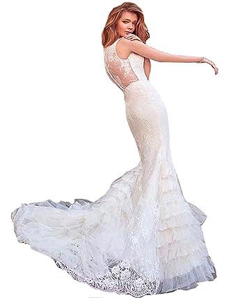 HotGirls Schatz Meerjungfrau Hochzeitskleid mit Spitze Knopf zurück ...