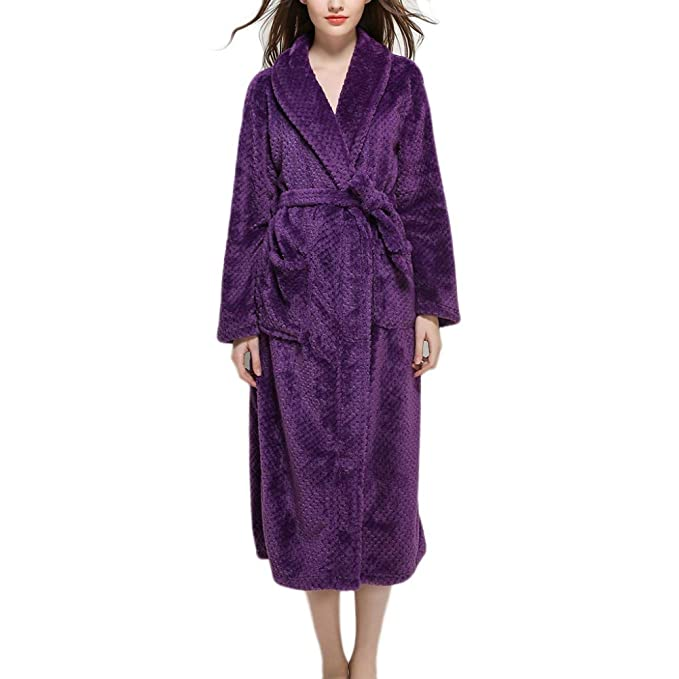 Yr-r Parejas Batas Con Capucha Ropa De Dormir Con Capucha Con Cinturón Bolsillo Noches Para Albornoces De Mujer Para Hombre Albornoces,Purple-XL: Amazon.es: ...