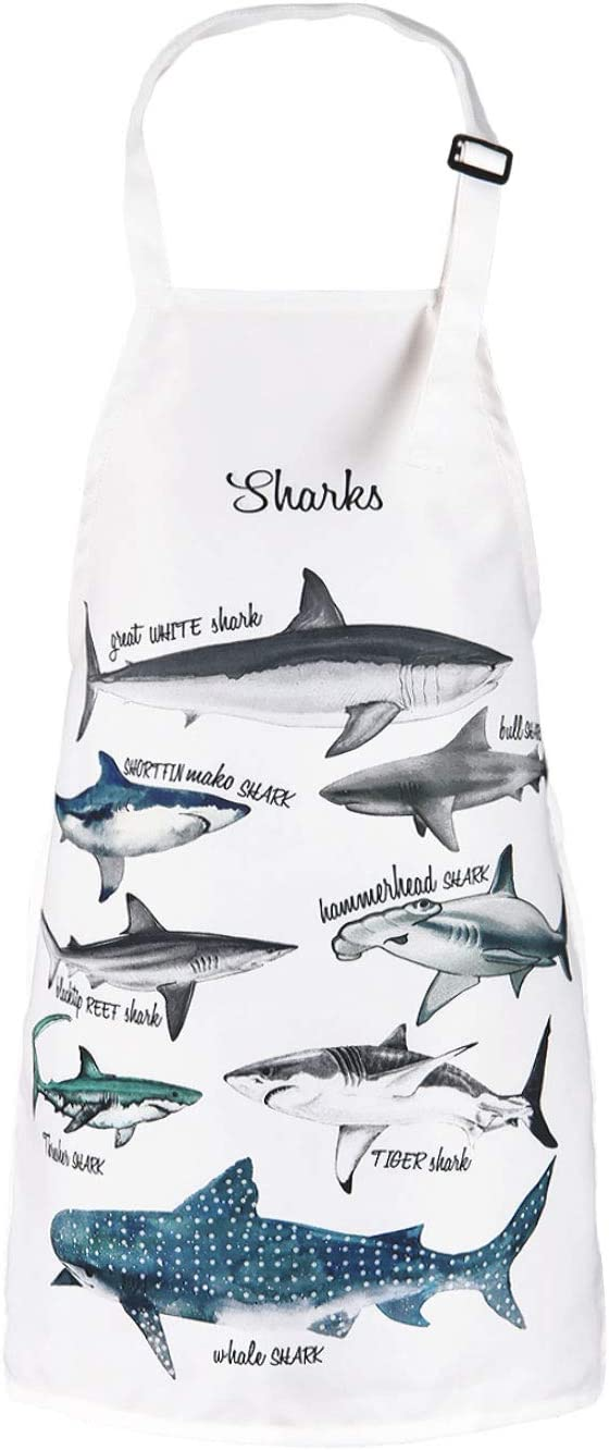 Claswcalor Sharks Apron- Kids Baking Apron-Waterproof Child Apron with Adjustable Neck for Party Cooking Gardening Painting Craft