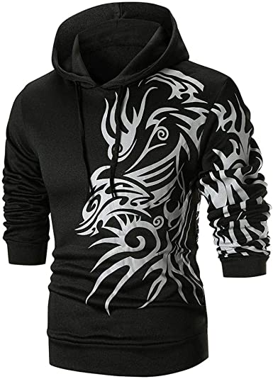 Amazon.com: Corriee Men Hoodies Mens Fashion Long Sleeve O-Neck Drawstring  Printed Hoodie Autumn Cool Hooded Outwear Pullover: Clothing