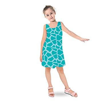 Queen of Cases Bright Giraffe Print Teal - 8 - Kids Sleeveless Dress Flared  Girls 7acf3ee98