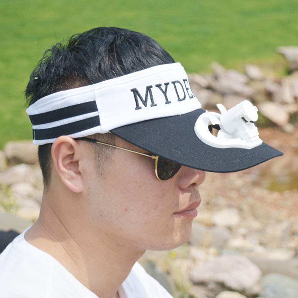 Meidexian888 USB Charging Fan Cap,Summer Unisex Cooling Sunscreen Camping Hiking Peaked Cap Fan Empty Top Hat (Black) by Meidexian888 Sun Hat (Image #2)