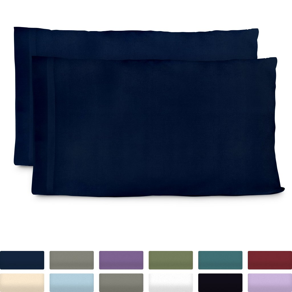 Cosy House Collection Premium Bamboo Pillowcases - Standard, Navy Blue Pillow Case Set - Ultra Soft & Cool Hypoallergenic Blend From Natural Bamboo Fiber