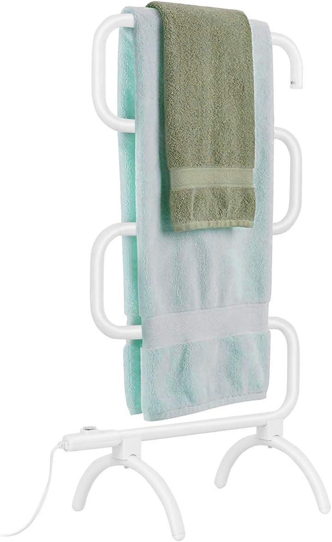 Tangkula Towel Warmer, Home Bathroom 100W Electric 5-Bar Towel Drying Rack, Freestanding and Wall Mounted Design Towel Hanger, Towel Heater, White (23