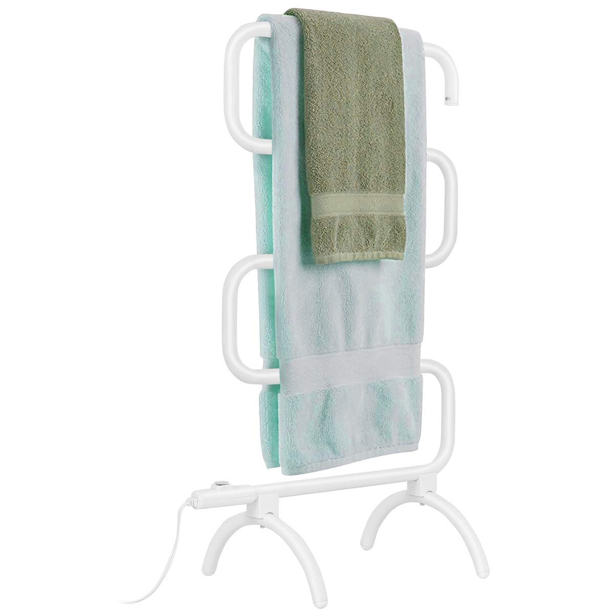 Tangkula Towel Warmer, Home Bathroom 100W Electric 5-Bar Towel Drying Rack, Freestanding and Wall Mounted Design Towel Hanger, Towel Heater, White
