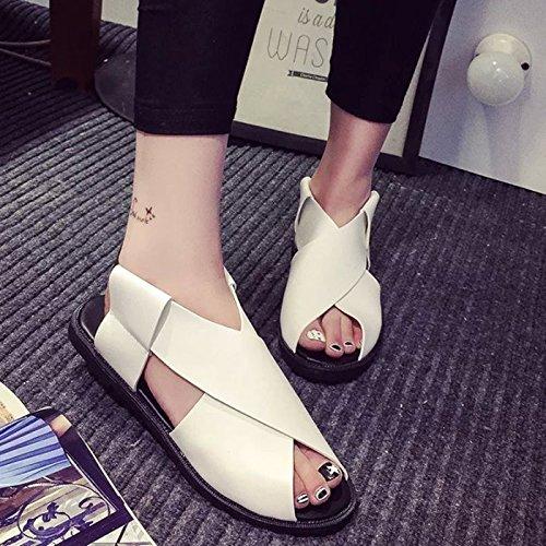 Plano Bajo Dedos Mujer Zapatillas Sandalias Lin De De Con De De Tacón Xing De Zapatillas De Mujer Fondo white Roma Sandalias Moda Zapatos WnOPAwwq