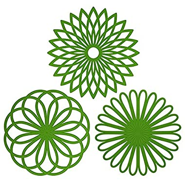 ME.FAN™ Silicone Multi-Use Flower Trivet Mat(set of 3 Pack) Premium Quality Insulated Flexible Durable Non Slip Hot Pads and Coasters Cup Green
