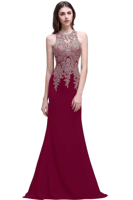 MisShow Women Long Mermaid Lycra Rhinestone Applique Evening Dresses 2017 Prom Gowns