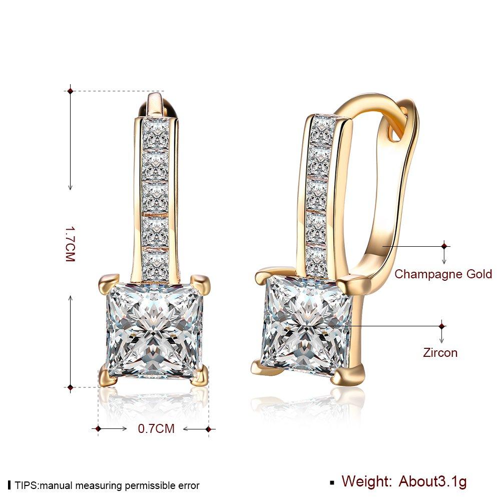ff2413ea701e TPHui Earrings 18k Rose Gold Cut Zircon Square Crystal Earrings Women  Earrings  Amazon.co.uk  Jewellery