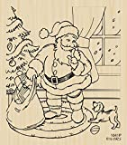 Santa with Puppy Scene Rubber Stamp by DRS Designs Rubber Stamps