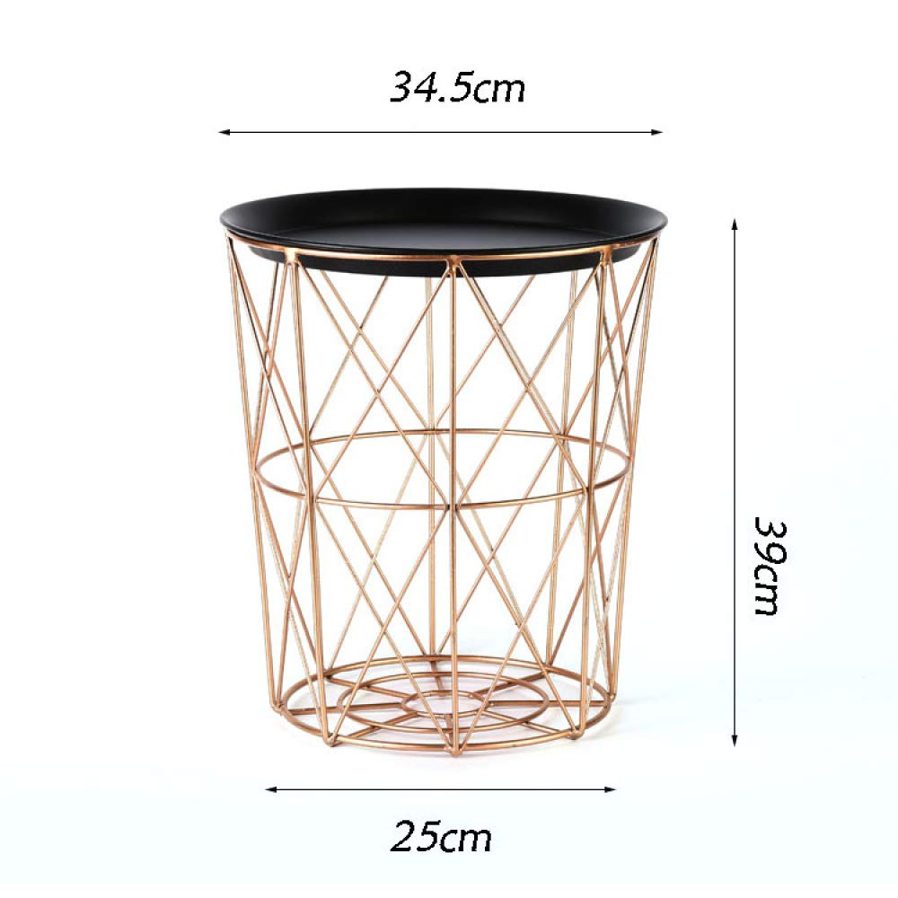 nouler Simple Iron Art Storage Basket Industrial Style Crafts Reading Blue Bedroom Laundry Basket,Gold,One Size