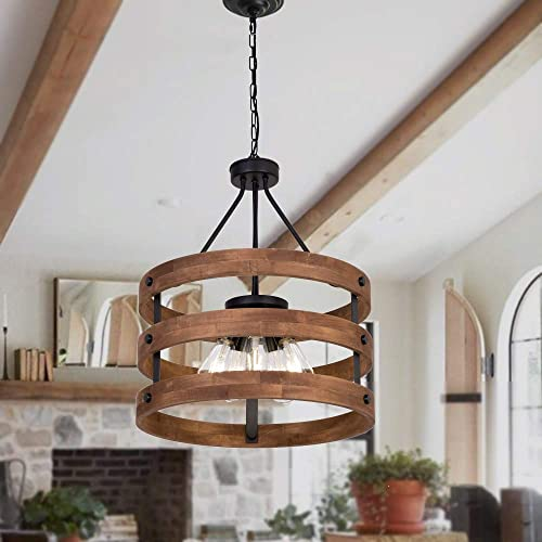 DERALAN Modern Rustic Chandelier Circular Wood Chandeliers Round Wooden Five Lights Farmhouse Chandeliers Island Pendant Lighting Fixture Industrial Metal Retro Ceiling Lights for Dining Room Kitchen