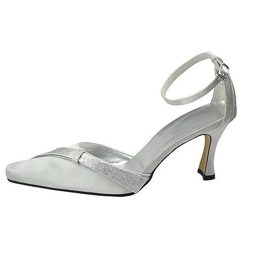 Kevin Fashion MZ1246 Ladies Pointed Toe Ivory Satin Bridal Wedding Formal Party Evening Prom Pumps Shoes 10 UK rW5mVU2