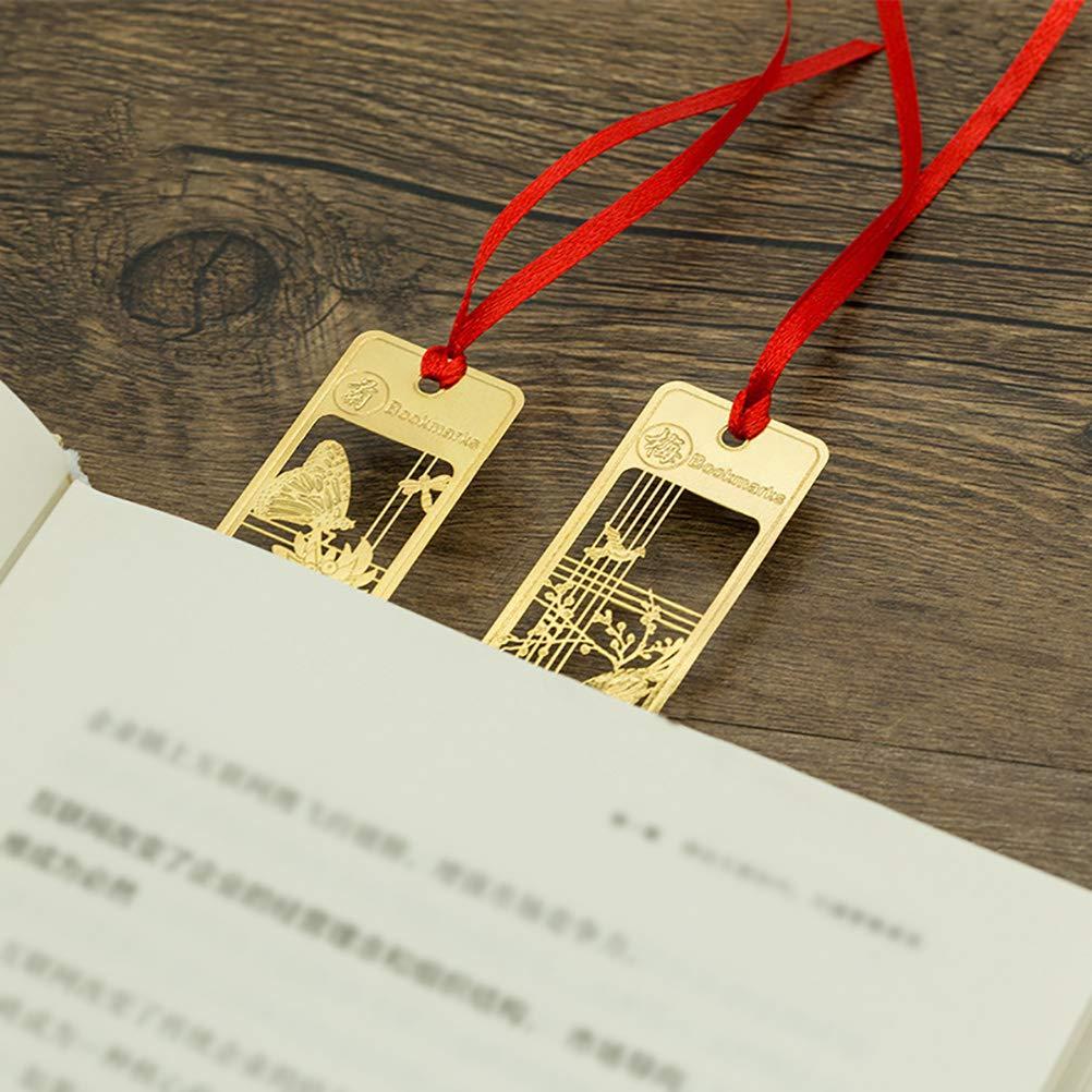 STOBOK 4Pz Segnalibri Metallo Set Cinese Prugna Bamb/ù Orchidea Crisantemo Taccuino Segnapagina Ufficio Materiale Regalo