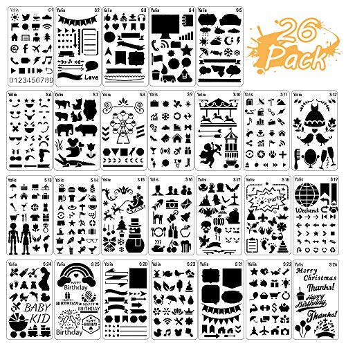 26 Packs Stencils for Journal and Diary DIY Drawing Stencils, Greeting Card Template -