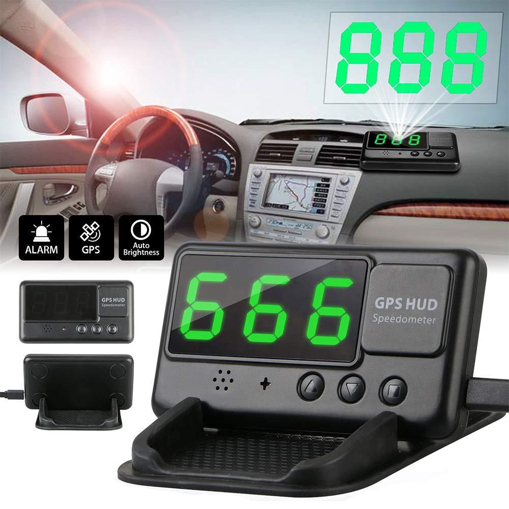 GeKLok Speedómetro de Pantalla para Coche HUD, GPS Universal, Pantalla de elevación de HUD KMH mph, velocímetro, Alarma de Marcha atrás, Auto común código ...