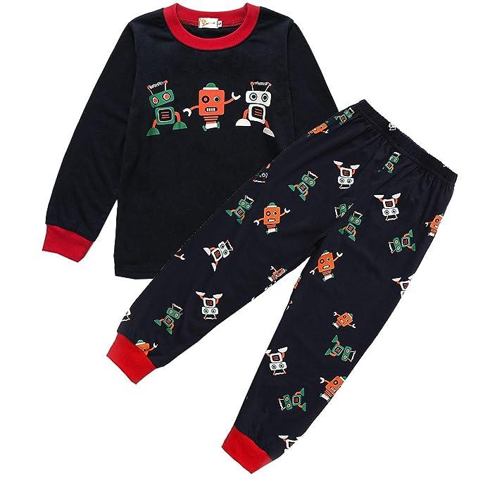 UK Kids Boys Animal Vehicle Printed T Shirt Tops Casual Cotton Sleepwear Pajamas
