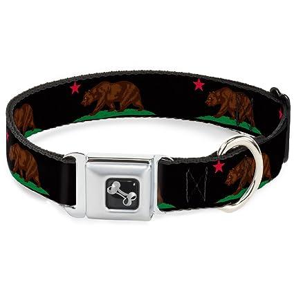 1a2e5fe2e Buckle Down Dog Collar Bone - California Flag Bear - WIDE-Small 13-18 quot