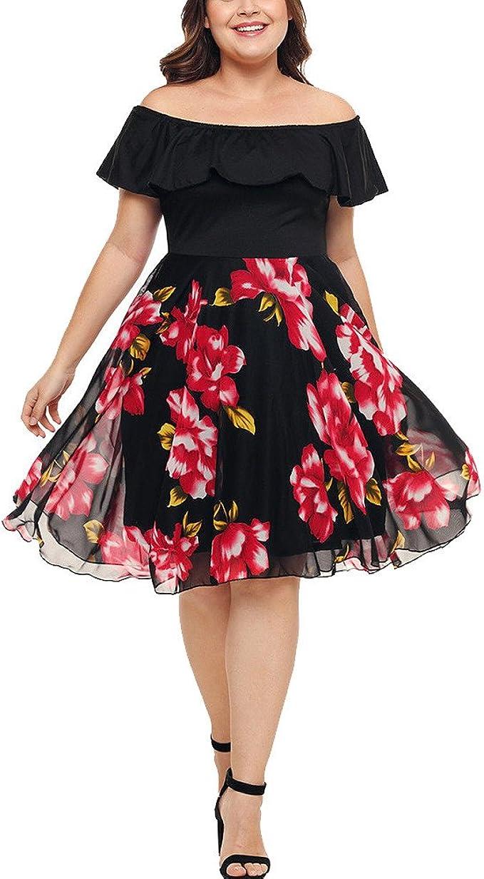 Longra Große Größen Kleider Damen Sommerkleid Elegant Trägerlos