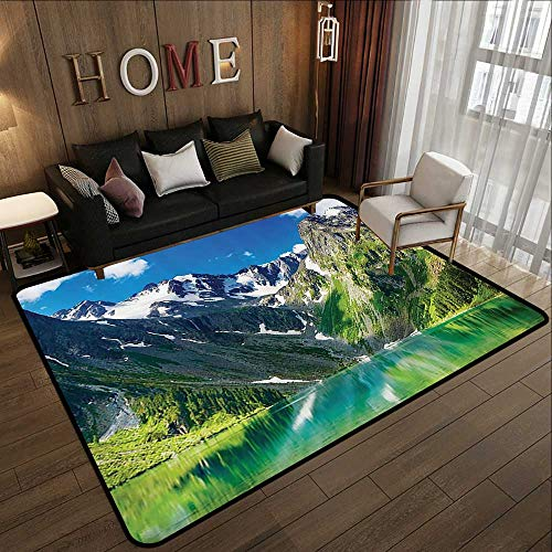 Office Floor mats,Cottage Decor Collection,Restful Majestic Lake in Altai Mountains with Snowy Peaks and Wooded Skirts Clear Sky View,Lime 55