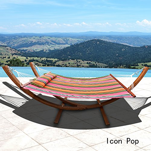 Corvus Silvia Outdoor Sunbrella Double Hammock Set with Stand icon pop