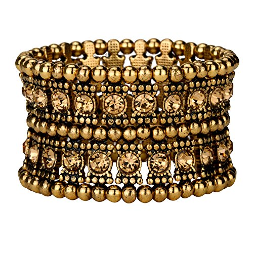 2 Row Stretch Bracelet - YACQ Jewelry Multilayer Crystal Stretch Cuff Bracelet for Women Gold Silver Black Color 2 Row