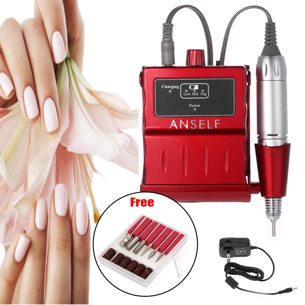 Anself Electric Nail Drill Machine Portable Acrylic Nail Polisher Pedicure & Manicure Kit Rechargeable by Anself
