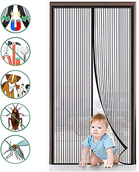 Magnetische Soft Screen T/ür Stummschalten T/ürVorhang Insektenschutz f/ür Balkone 39x91Zoll Magnet Fliegengitter T/ür Terrassen -Schwarz Innen- und Au/ßent/üren-100x230Cm