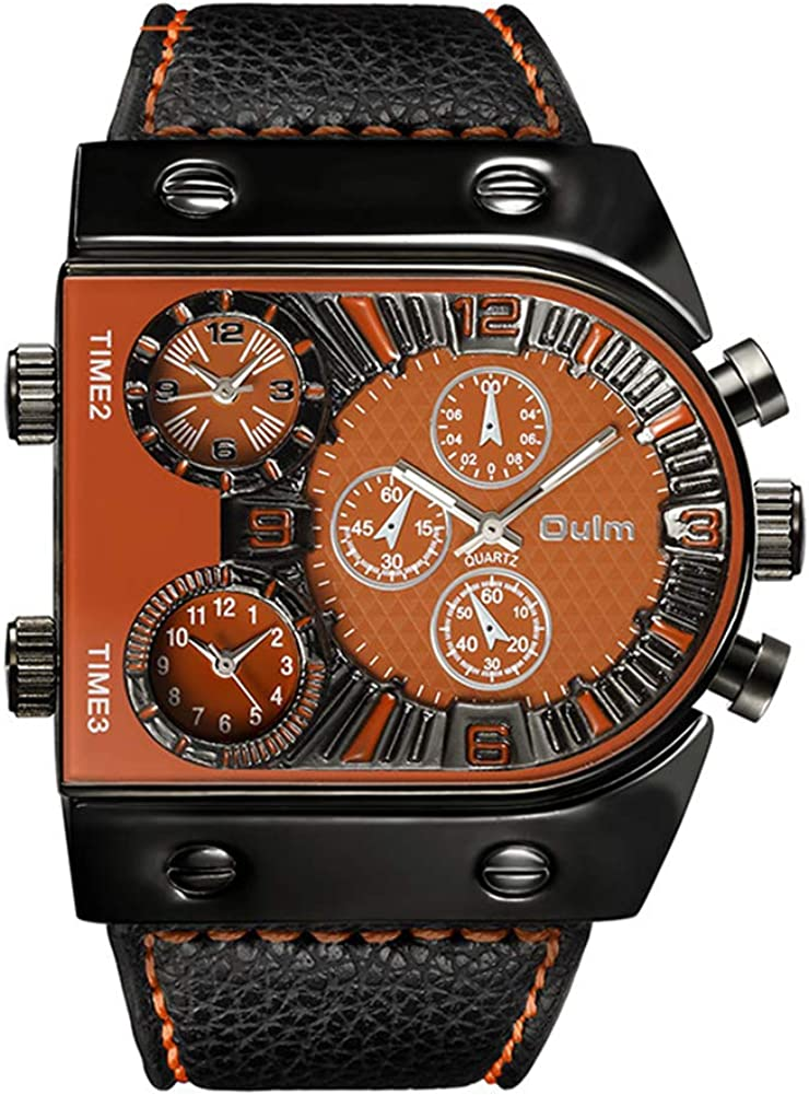 Oulm Men s Steampunk Skeleton Automatic Mechanical Alloy Stainless Steel Leather Watch CH164