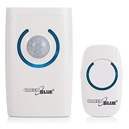 GreenBlue GB110 - Timbre inalámbrico, Alarma con Sensor de Movimiento Independiente, luz de Emergencia