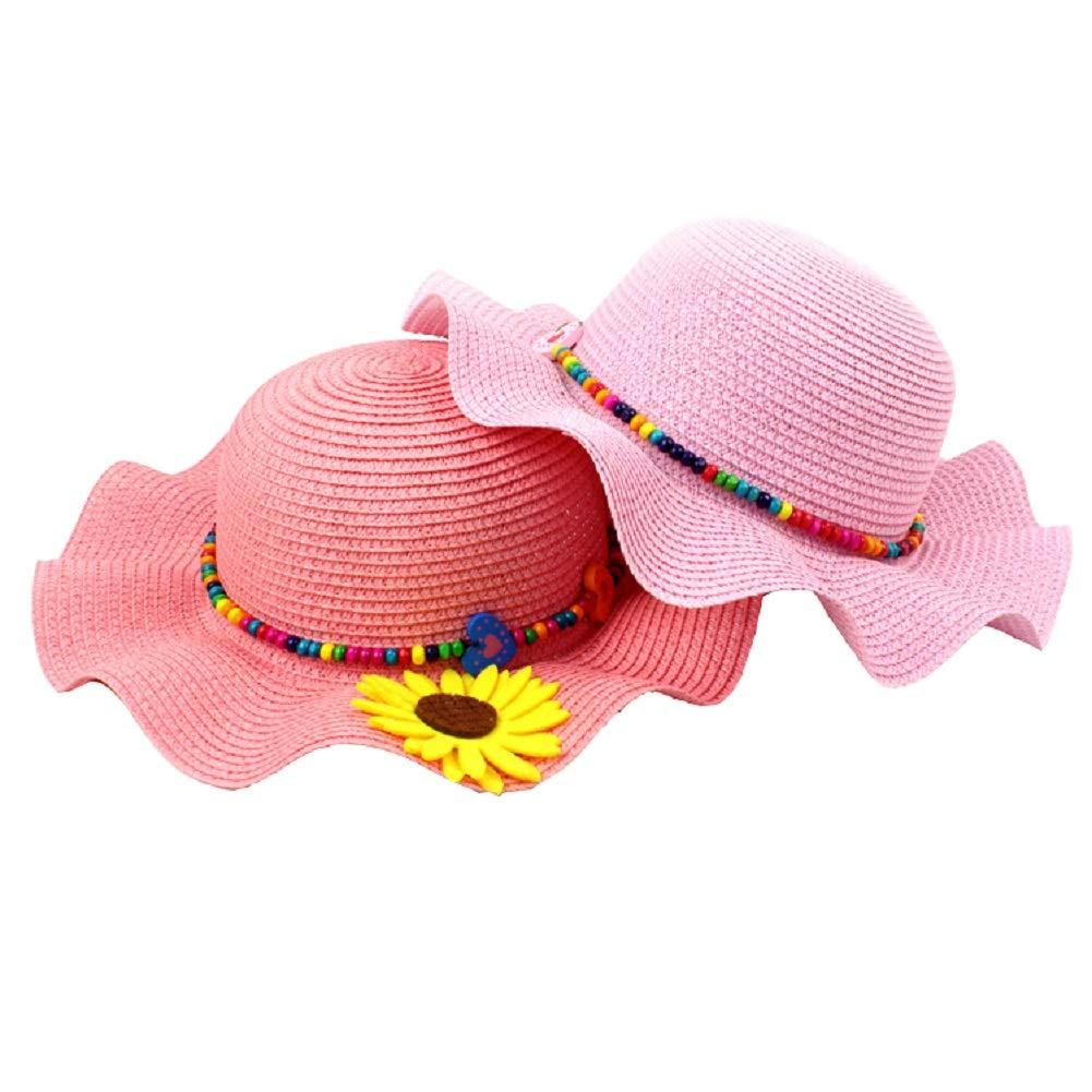 HeiHy Large Brim Sun Hats Straw Hats Beach Hats Sun Visor Cap with Sunflower for Girl Kids
