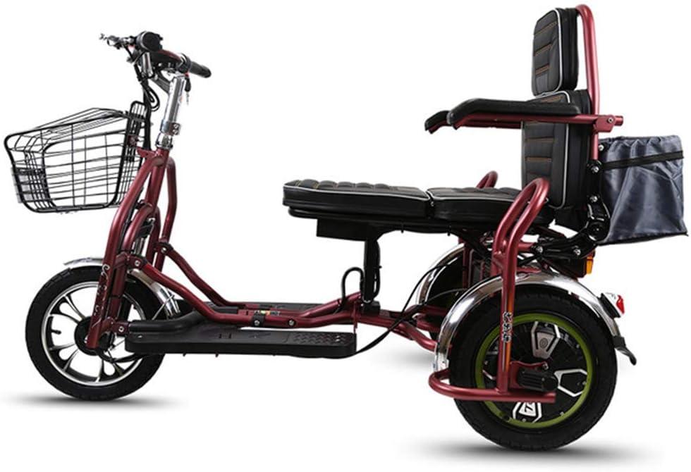F-spinbike Coche eléctrico Doble Viejo Ocio eléctrico Triciclo 48V Vespa 350 Plegable eléctrico del Coche, Adecuado para el Viaje Ancianos/discapacitados Aire Libre