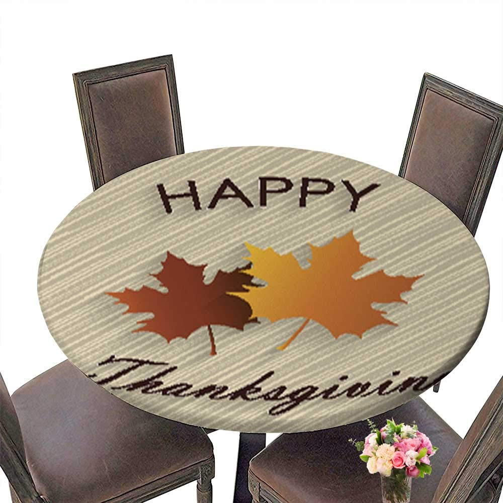 Spillproof Fabric Round Tablecloth,Happy Thanksgiving Wooden Background with Maple Leaves Kitchen Decoration Washable up to 31.5''-33.5'' Diameter