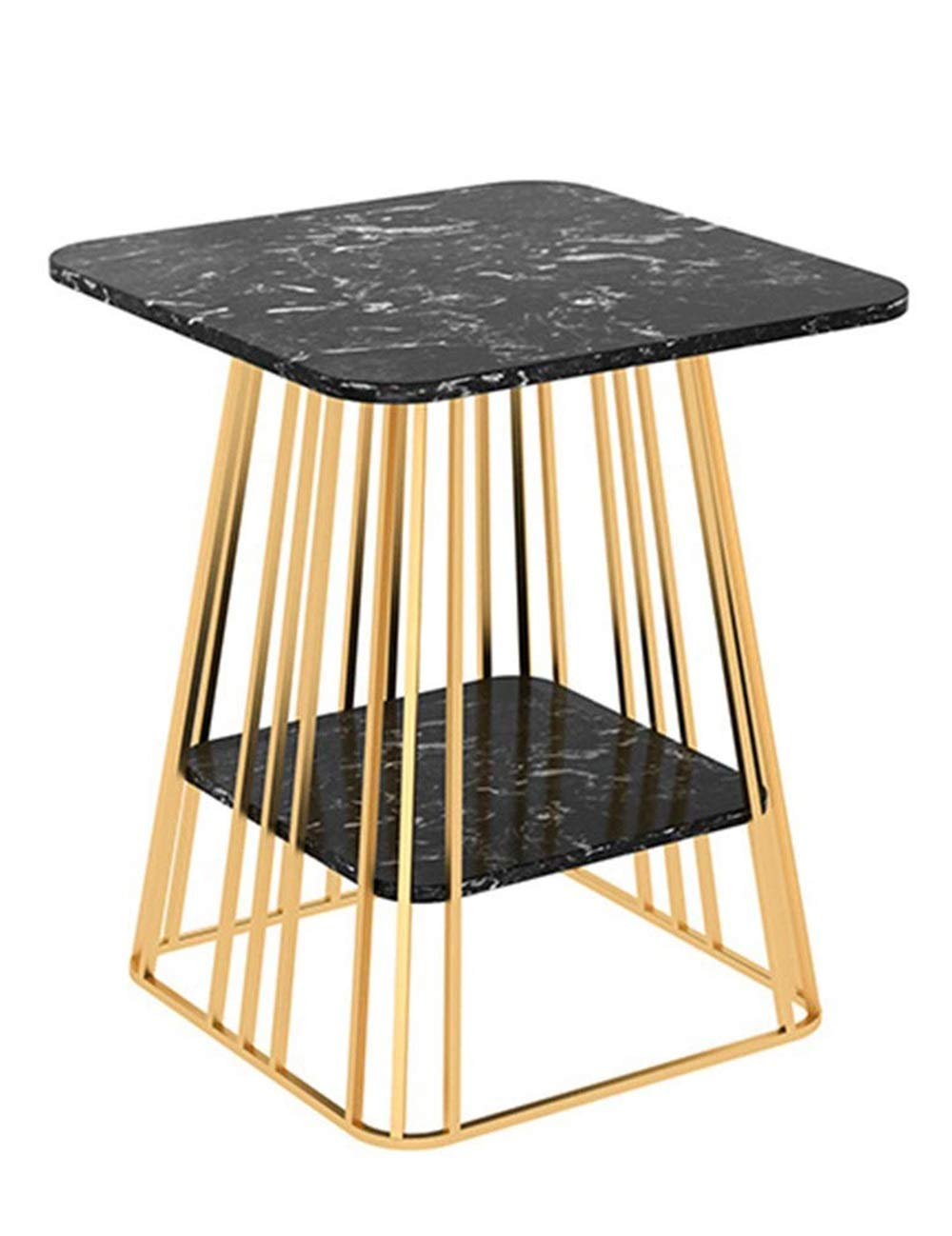 リビングルームの大理石のコーヒーテーブル/錬鉄製のサイドテーブル、モダンなクリエイティブレジャーテーブルのベッドサイドテーブル、白黒オプション(50×50×60cm) B07QLTFTLY black