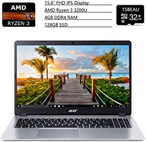 Acer Aspire 5 15.6 inches Full HD IPS Display Laptop, AMD Ryzen 3 3200U, Vega 3 Graphics, 4GB DDR4, 128GB SSD, Backlit Keyboard, Windows 10 in S Mode Silver, Bundled with 32GB Micro SD Card