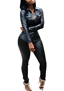 fa4b23e8401c Adogirl PU Faux Leather 2 Piece Sets for Women Button Down Shirts and  Leggings Pants Trousers