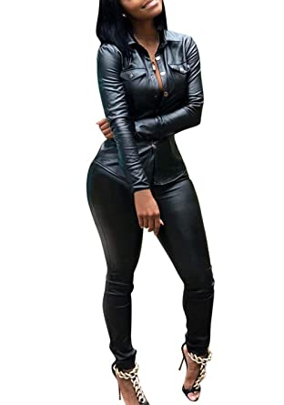 40f462b1c61c1 Faux Leather 2 Piece Sets for Women Button Down Shirts and Legging Pants  Black S